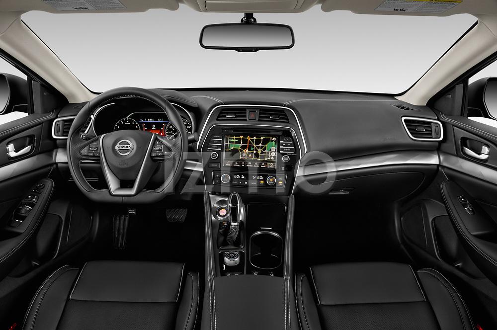 Stock photo of straight dashboard view of 2020 Nissan Maxima SV 4 Door Sedan Dashboard