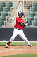 James Baldwin (37) of the Kannapolis Intimidators ducks away from an inside pitch against the Lakewood BlueClaws at CMC-Northeast Stadium on May 17, 2015 in Kannapolis, North Carolina.  The Intimidators defeated the BlueClaws 4-1.  (Brian Westerholt/Four Seam Images)