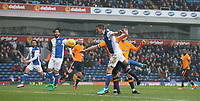 Blackburn Rovers' Paul Downing sees his header blocked<br /> <br /> Photographer Stephen White/CameraSport<br /> <br /> The EFL Sky Bet League One - Blackburn Rovers v Oldham Athletic - Saturday 10th February 2018 - Ewood Park - Blackburn<br /> <br /> World Copyright &copy; 2018 CameraSport. All rights reserved. 43 Linden Ave. Countesthorpe. Leicester. England. LE8 5PG - Tel: +44 (0) 116 277 4147 - admin@camerasport.com - www.camerasport.com