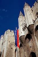 Papal Palace at Avignon, with turrets and stone towers, Avignon, France. Residence of Popes from 1309 - 1417