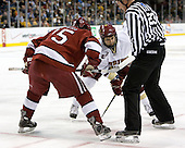 Doug Rogers (Harvard University - Watertown, MA) and \b22\ face off. The Boston College Eagles defeated the Harvard University Crimson 3-1 in the first round of the 2007 Beanpot Tournament on Monday, February 5, 2007, at the TD Banknorth Garden in Boston, Massachusetts.  The first Beanpot Tournament was played in December 1952 with the scheduling moved to the first two Mondays of February in its sixth year.  The tournament is played between Boston College, Boston University, Harvard University and Northeastern University with the first round matchups alternating each year.