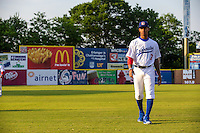 Byron Buxton (7) of the Chattanooga Lookouts looks on before a game between the Jackson Generals and Chattanooga Lookouts at AT&T Field on May 8, 2015 in Chattanooga, Tennessee. (Brace Hemmelgarn/Four Seam Images)