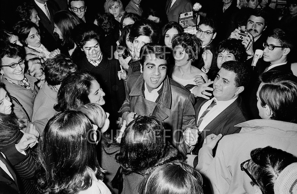 New York City, USA. December 1st, 1968. Enrico Macias is congratulated by his fans outside New York's Carnegie Hall after his first concert there.