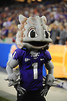 Jan. 4, 2010; Glendale, AZ, USA; TCU Horned Frogs mascot on the sidelines against the Boise State Broncos in the 2010 Fiesta Bowl at University of Phoenix Stadium. Boise State defeated TCU 17-10. Mandatory Credit: Mark J. Rebilas-