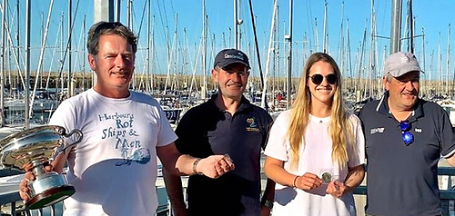 winning skipper Shane O'Doherty (left) with crew Wayne Heather, Holly O'Doherty and Brendan O'Brien