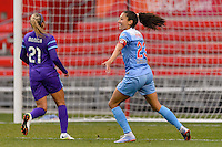 Bridgeview, IL, USA - Sunday, May 1, 2016: Chicago Red Stars forward Christen Press (23) celebrates a goal during a regular season National Women's Soccer League match between the Chicago Red Stars and the Orlando Pride at Toyota Park. Chicago won 1-0.