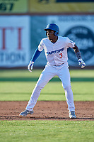 Sauryn Lao (3) of the Ogden Raptors takes a lead from second base against the Orem Owlz at Lindquist Field on June 22, 2019 in Ogden, Utah. The Owlz defeated the Raptors 7-4. (Stephen Smith/Four Seam Images)