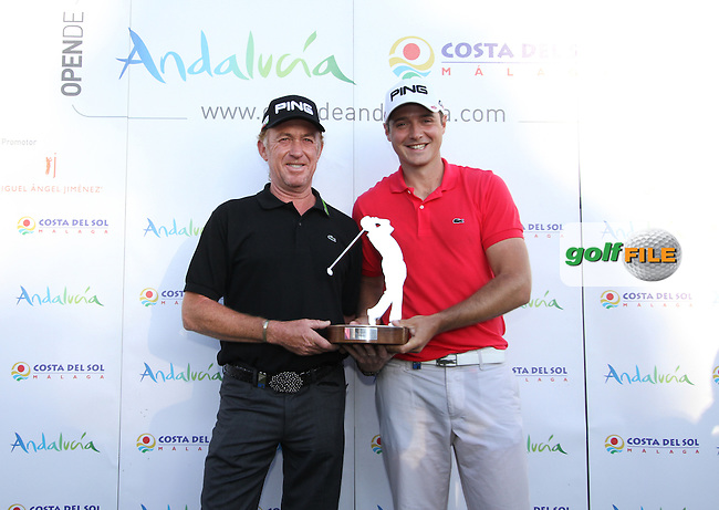 Julien Quesne (FRA) on winning the 2012 Open de Andalucia Costa del Sol at Aloha Golf Club, Marbella, Spain. Pictured here with Miguel Angel Jimenez (ESP)...(Photo Jenny Matthews/www.golffile.ie)