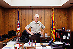 Art Jenkins is the volunteer commander for the Sun City Posse, a completely volunteer type of sheriff's department made up of 130 members who donate 28 hours of patrols a month. He stands for a portrait in his office in Sun City December 2013.