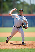 GCL Marlins relief pitcher Nathan Alexander (32) delivers a pitch during a game against the GCL Mets on August 3, 2018 at St. Lucie Sports Complex in Port St. Lucie, Florida.  GCL Mets defeated GCL Marlins 3-2.  (Mike Janes/Four Seam Images)
