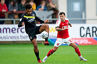Shrewsbury Town's Aaron Holloway competes with Fleetwood Town's Ross Wallace<br /> <br /> Photographer Richard Martin-Roberts/CameraSport<br /> <br /> The EFL Sky Bet League One - Fleetwood Town v Shrewsbury Town - Saturday 13th October 2018 - Highbury Stadium - Fleetwood<br /> <br /> World Copyright &not;&copy; 2018 CameraSport. All rights reserved. 43 Linden Ave. Countesthorpe. Leicester. England. LE8 5PG - Tel: +44 (0) 116 277 4147 - admin@camerasport.com - www.camerasport.com