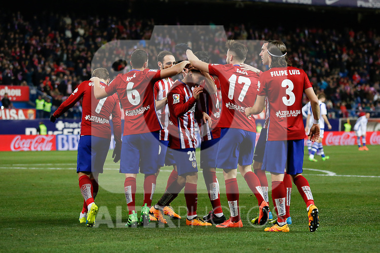 Atletico de Madrid´s Saul Niguez celebrates a goal during 2015-16 La Liga match between Atletico de Madrid and Real Sociedad at Vicente Calderon stadium in Madrid, Spain. March 01, 2016. (ALTERPHOTOS/Victor Blanco)