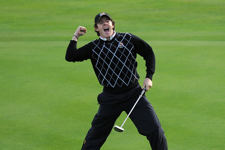 European Rory McIlroy celebrates a birdie on the 17th. Ryder Cup 2010 - Day 2 - 2nd October 2010 - Celtic Manor Resort Newport, Wales.  Please Credit - Ian Cook - IJC Sports