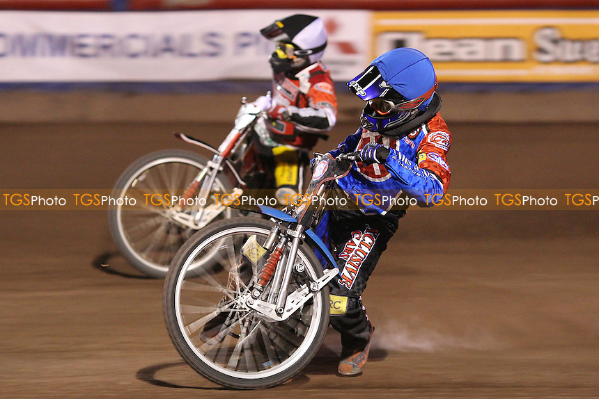 Heat 14: Ricky Kling (blue) holds off the tactical ride of Kenneth Berre (b&w) - Lakeside Hammers vs Peterborough Panthers at The Arena Essex Raceway, Lakeside - 18/04/08 - MANDATORY CREDIT: Rob Newell/TGSPHOTO