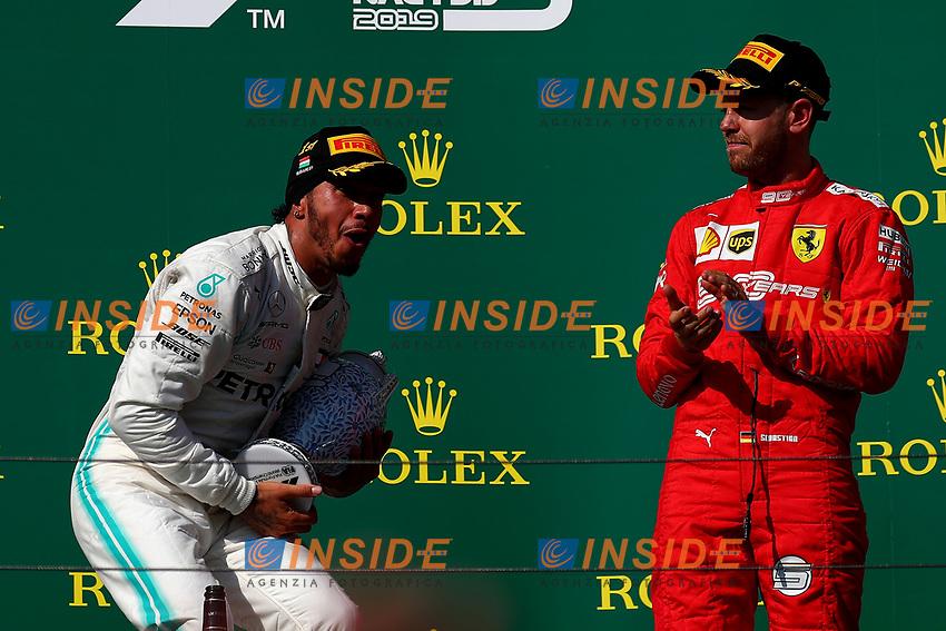#44 Lewis Hamilton Mercedes AMG Team celebrates victory<br /> #05 Sebastian Vettel, Scuderia Ferrari <br /> F1. Hungarian GP, Budapest 2-4 August 2019<br /> Budapest 04/08/2019 GP Hungary <br /> Formula 1 Championship 2019 Race  <br /> Photo Federico Basile / Insidefoto