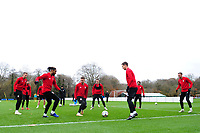 (L-R) Chris Gunter, Ashley Williams, Aaron Ramsey, James Lawrence and Andy King in action during the Wales Training Session at The Vale Resort, Hensol, Wales, UK. Monday 19 November 2018