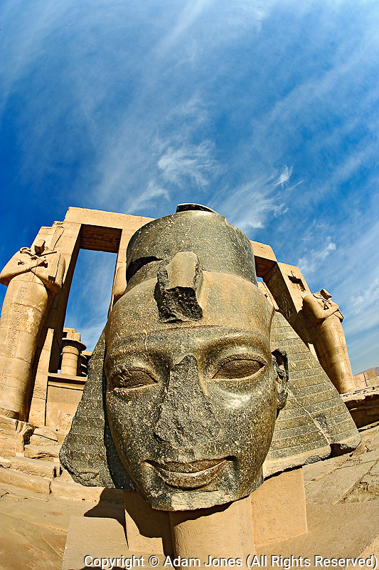 The giant head of Ramesses II, The Ramessuem on the West Bank at Luxor, Egypt