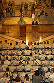 The Chairman of the Joint Chiefs of Staff General Richard B. Myers and United States Secretary of Defense Donald H. Rumsfeld talk to soldiers, Marines and airmen in the Al Faw Palace at Camp Victory, Iraq, on May 13, 2004.  Rumsfeld and Myers are in Iraq to visit the troops in Baghdad and Abu Ghraib.   <br /> Mandatory Credit: Jerry Morrison / DoD via CNP