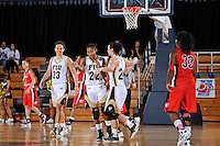 25 February 2012:  FIU guard Jerica Coley (22) and guard Carmen Miloglav (24) celebrate as time expires as the FIU Golden Panthers defeated the University of South Alabama Jaguars, 58-55 (OT), at the U.S. Century Bank Arena in Miami, Florida.