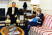 United States President Bill Clinton meets US Secretary of State Madeleine Albright in the Oval Office of the White House in Washington, DC on September 8, 1997.<br /> Mandatory Credit: Sharon Farmer / White House via CNP