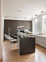 A contemporary white kitchen with wenge units. A set of Harry Bertoia stools are placed at a central island unit.