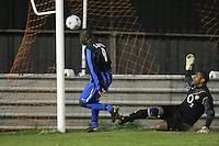 Lapton score their first goal - Lapton (blue/black) vs Bancroft United (yellow/white) - Hackney & Leyton League Dickie Davies Cup Final at Waltham Forest FC - 29/04/11 - MANDATORY CREDIT: Gavin Ellis/TGSPHOTO - Self billing applies where appropriate - Tel: 0845 094 6026