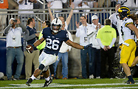 STATE COLLEGE, PA - OCTOBER 21:  Penn State RB Saquon Barkley (26) celebrates after tipping a ball to himself and then making a touchdown catch, for his third touchdown of the game. The Penn State Nittany Lions defeated the Michigan Wolverines 42-13 on October 21, 2017 at Beaver Stadium in State College, PA. (Photo by Randy Litzinger/Icon Sportswire)