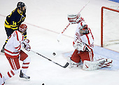 Joe Cucci (Merrimack - 14), Max Nicastro (BU - 7), Grant Rollheiser (BU - 35) - The Boston University Terriers defeated the Merrimack College Warriors 6-4 (EN) on Saturday, January 16, 2010, at Agganis Arena in Boston, Massachusetts.