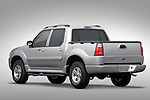 Driver side rear three quarter view of a 2005 Ford Explorer Sport Trac