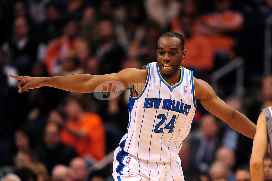 Dec. 26, 2011; Phoenix, AZ, USA; New Orleans Hornets forward Carl Landry reacts during game against the Phoenix Suns at the US Airways Center. The Hornets defeated the Suns 85-84. Mandatory Credit: Mark J. Rebilas-USA TODAY Sports