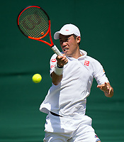 Kei Nishikori (9) of Japan in action during his defeat by Roberto Bautista Agut (18) of Spain in their Men's Singles Third Round Match today - Bautista Agut def Nishikori 6-4, 7-6, 3-6, 6-3<br /> <br /> Photographer Ashley Western/CameraSport<br /> <br /> Wimbledon Lawn Tennis Championships - Day 5 - friday 7th July 2017 -  All England Lawn Tennis and Croquet Club - Wimbledon - London - England<br /> <br /> World Copyright &not;&uml;&not;&copy; 2017 CameraSport. All rights reserved. 43 Linden Ave. Countesthorpe. Leicester. England. LE8 5PG - Tel: +44 (0) 116 277 4147 - admin@camerasport.com - www.camerasport.com