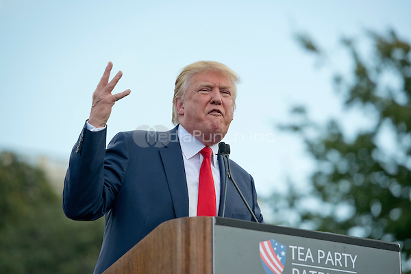 Donald Trump, a candidate for the 2016 Republican nomination for President of the United States, makes remarks as he appears at a rally against the Iran Nuclear Deal on the West Lawn of the US Capitol in Washington, DC on Wednesday, September 9, 2015.<br /> Credit: Ron Sachs / CNP/MediaPunch<br /> (RESTRICTION: NO New York or New Jersey Newspapers or newspapers within a 75 mile radius of New York City)
