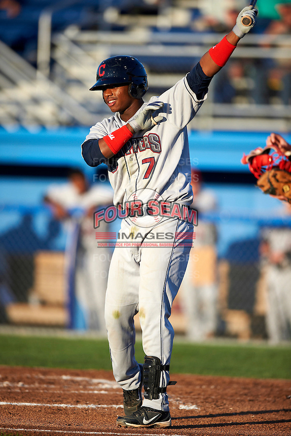 Mahoning Valley Scrappers shortstop Dorssys Paulino #7 during a NY-Penn League game against the Batavia Muckdogs at Dwyer Stadium on August 21, 2012 in Batavia, New York.  Batavia defeated Mahoning Valley 4-1.  (Mike Janes/Four Seam Images)