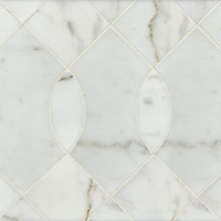 Vivian, a stone water jet mosaic, shown in Calacatta Tia, is part of the Ann Sacks Beau Monde collection sold exclusively at www.annsacks.com