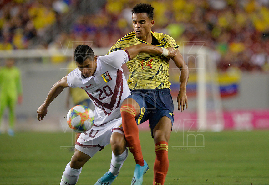 TAMPA - ESTADOS UNIDOS, 10-09-2019: Luis Diaz jugador de Colombia disputa el balón con Ronald Hernandez jugador de Venezuela durante partido amistoso amistoso entre Colombia y Venezuela jugado en el Raymond James Stadium en Tampa, Estados Unidos. / Luis Diaz player of Colombia fights the ball with Ronald Hernandez player of Venezuela during a friendly match between Colombia and Venezuela played at Raymond James Stadium in Tampa, Estados Unidos. Photo: VizzorImage / Cristian Alvarez / Cont
