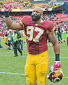 Washington Redskins defensive end Jason Hatcher (97) leaves the field following his team's 23-20 victory the Philadelphia Eagles at FedEx Field in Landover, Maryland on October 4, 2015. <br /> Credit: Ron Sachs / CNP