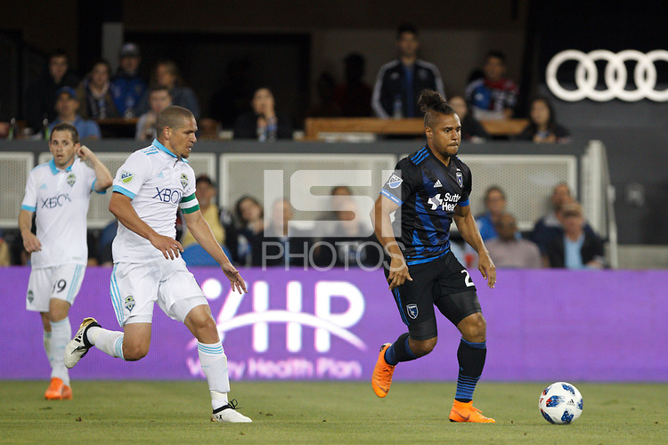 San Jose, CA - Wednesday July 25, 2018: Quincy Amarikwa during a Major League Soccer (MLS) match between the San Jose Earthquakes and the Seattle Sounders FC at Avaya Stadium.