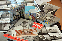 Pictured: A selection of items bearing the iconic image taken by Bert Hardy and other mementos from the same era. <br />