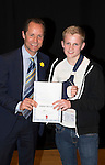 St Johnstone FC Academy Awards Night...06.04.15  Perth Concert Hall<br /> Alec Cleland presents a certificate to Alistair McCann<br /> Picture by Graeme Hart.<br /> Copyright Perthshire Picture Agency<br /> Tel: 01738 623350  Mobile: 07990 594431