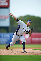 GCL Rays pitcher Abrahan Rodriguez (22) delivers a pitch during the first game of a doubleheader against the GCL Orioles on August 1, 2015 at the Ed Smith Stadium in Sarasota, Florida.  GCL Orioles defeated the GCL Rays 2-0.  (Mike Janes/Four Seam Images)