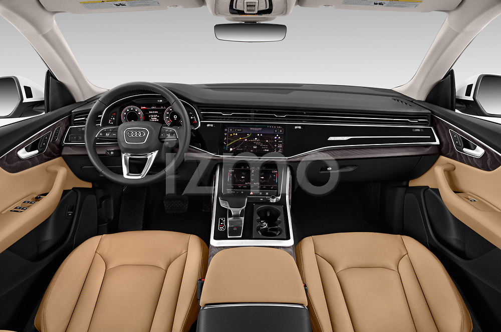 Stock photo of straight dashboard view of a 2019 Audi q8 Premium Plus 5 Door SUV