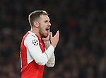 Arsenal's Aaron Ramsey claims to have been hit by PSG's Edinson Cavani during the Champions League group A match at the Emirates Stadium, London. Picture date November 23rd, 2016 Pic David Klein/Sportimage