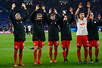 16.03.2019, VELTINS Arena, Gelsenkirchen, Deutschland, GER, 1. FBL, FC Schalke 04 vs. RB Leipzig<br /> <br /> DFL REGULATIONS PROHIBIT ANY USE OF PHOTOGRAPHS AS IMAGE SEQUENCES AND/OR QUASI-VIDEO.<br /> <br /> im Bild Jubel Leipzig nach Sieg<br /> Kevin Kampl (#44 Leipzig), Konrad Laimer (#27 Leipzig), Timo Werner (#11 Leipzig), Marcel Sabitzer (#7 Leipzig), Willi Orban (#4 Leipzig), Marcel Halstenberg (#23 Leipzig)<br /> <br /> Foto © nordphoto / Kurth