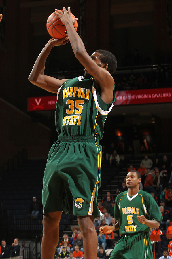 Dec. 20, 2010; Charlottesville, VA, USA; Norfolk State Spartans guard/forward Chris McEachin (35) shoots the ball during the game against the Virginia Cavaliers at the John Paul Jones Arena. Mandatory Credit: Andrew Shurtleff-