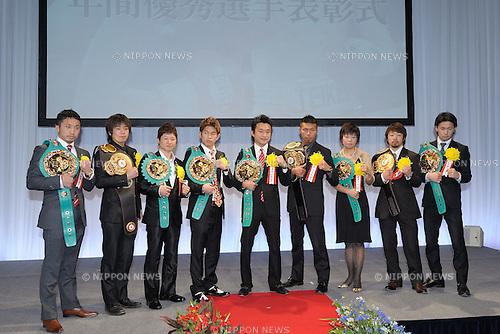 Prize winners,.JANUARY 25, 2012 - Boxing :.(L-R) Takahiro Aou, Tomonobu Shimizu, Naoko Fujioka, Kazuto Ioka, Toshiaki Nishioka, Takashi Uchiyama, Naomi Togashi, Akira Yaegashi and Shinsuke Yamanaka pose with their champion belt during the Japan's Boxer of the Year Award 2011 at Tokyo Dome Hotel in Tokyo, Japan. (Photo by Mikio Nakai/AFLO) (L to R)  (),  (),  (),  (),  (),  (),  (),  (),  ()