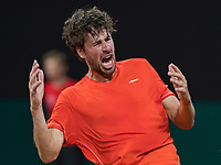 The Hague, The Netherlands, September 17, 2017,  Sportcampus , Davis Cup Netherlands - Chech Republic, Robin Haase (NED) wins the fout match and equals the score 2-2 and screems it out<br /> Photo: Tennisimages/Henk Koster