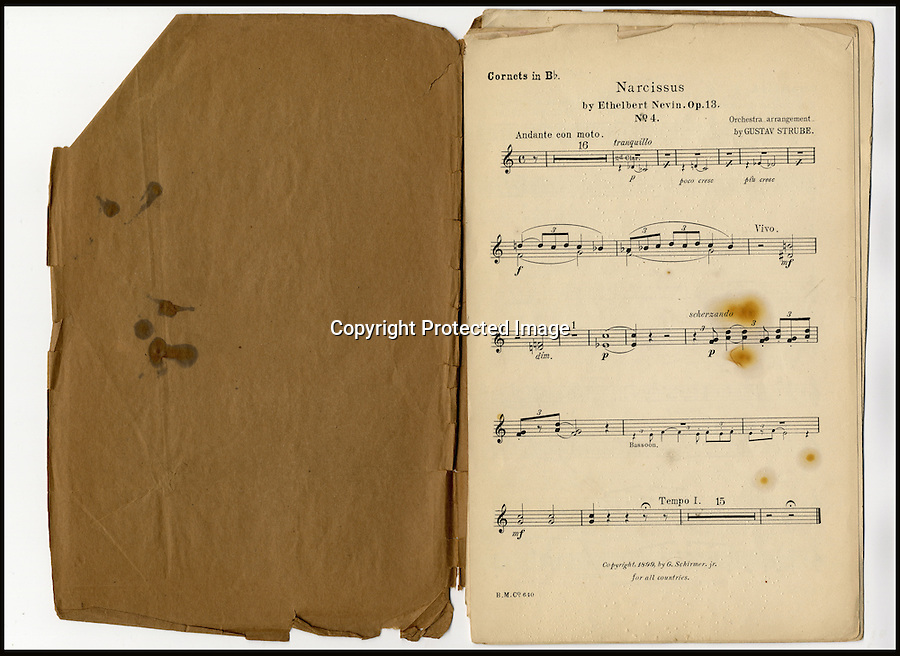 BNPS.co.uk (01202 558833)<br /> Picture: HAldridge/BNPS<br /> <br /> ****Please use full byline****<br /> <br /> The sheet music belonging to Wallace Hartley.<br /> <br /> The violin played by the bandmaster on the Titanic as the ship was sinking is finally being auctioned for an estimated £400,000.<br /> <br /> The wooden instrument has been proven to be the one used by Wallace Hartley as his band famously played on to help keep the passengers calm during the disaster.<br /> <br /> Its existence and survival only emerged in 2006 when the son of an amateur violinist who was gifted it by her music teacher in the early 1940s contacted an auctioneers.