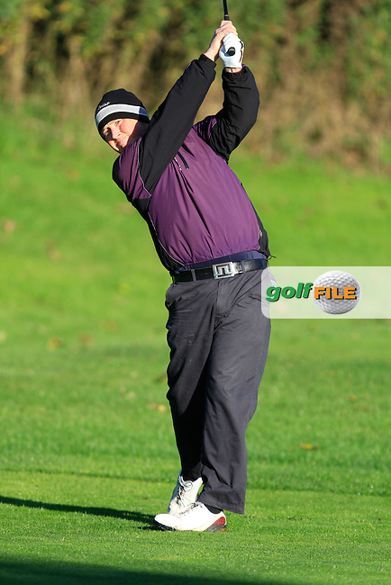 Michael McGeady on the 3rd tee during Round 1 of The Cassidy Golf 103rd Irish PGA Championship in Roganstown Golf Club on Thursday 10th October 2013.<br />