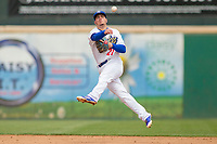 Rancho Cucamonga Quakes Omar Estevez (21) makes a throw to first base against the Modesto Nuts at LoanMart Field on May 2, 2018 in Rancho Cucamonga, California. The Nuts defeated the Quakes 11-4.  (Donn Parris/Four Seam Images)