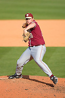 Relief pitcher Geoff Parker #21 of the Florida State Seminoles in action versus the Miami Hurricanes at Durham Bulls Athletic Park May 21, 2009 in Durham, North Carolina.  (Photo by Brian Westerholt / Four Seam Images)
